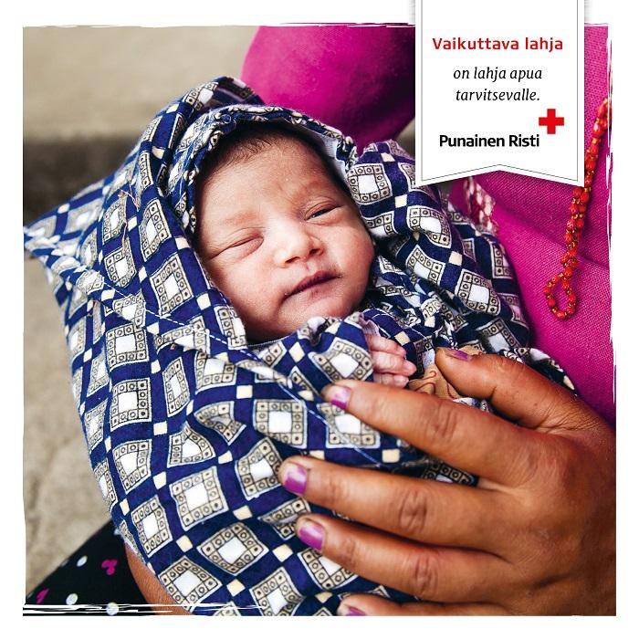 Äitiyspakkaus katastrofin keskelle, painettu kortti