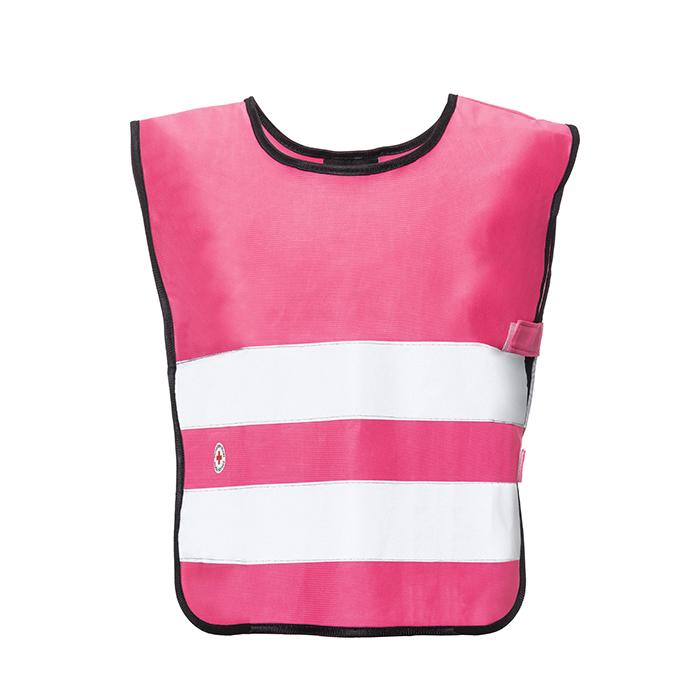 Pinkki lasten heijastinliivi edestä, isompi koko