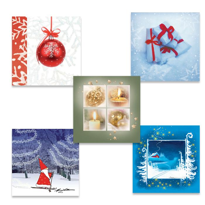 Pakkaus neliötaitekortteja, monikielinen joulutervehdys
