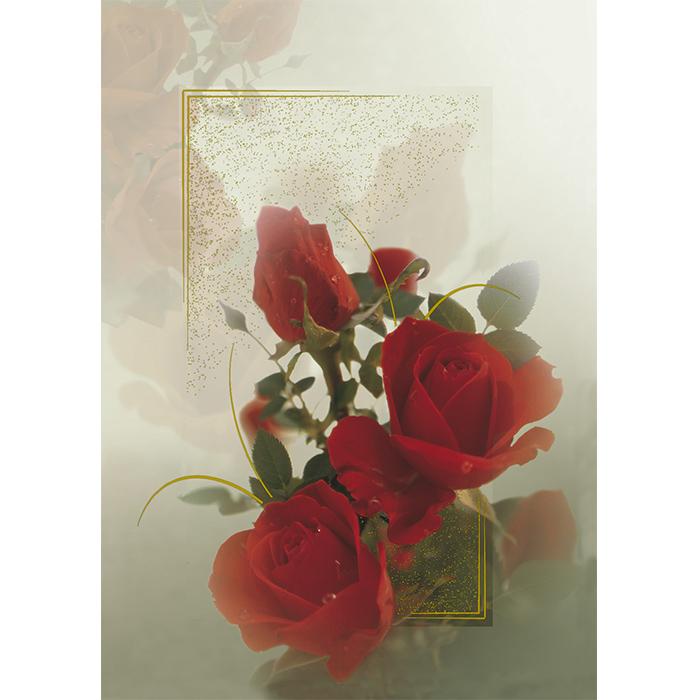 Kannessa on kauniita punaisia ruusuja ja kullanvärisiä yksityiskohtia