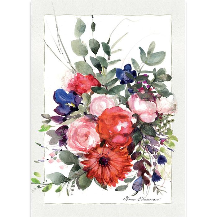 Tekstattu onnitteluadressi Kukkakimppu