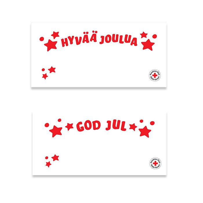 Pakettikorttipakkaus Hyvää Joulua / God Jul
