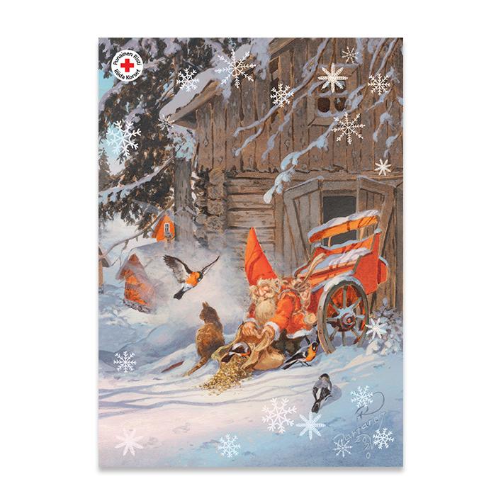 SPR joulukortti tonttu. Kuvittaja Raimo Partanen.