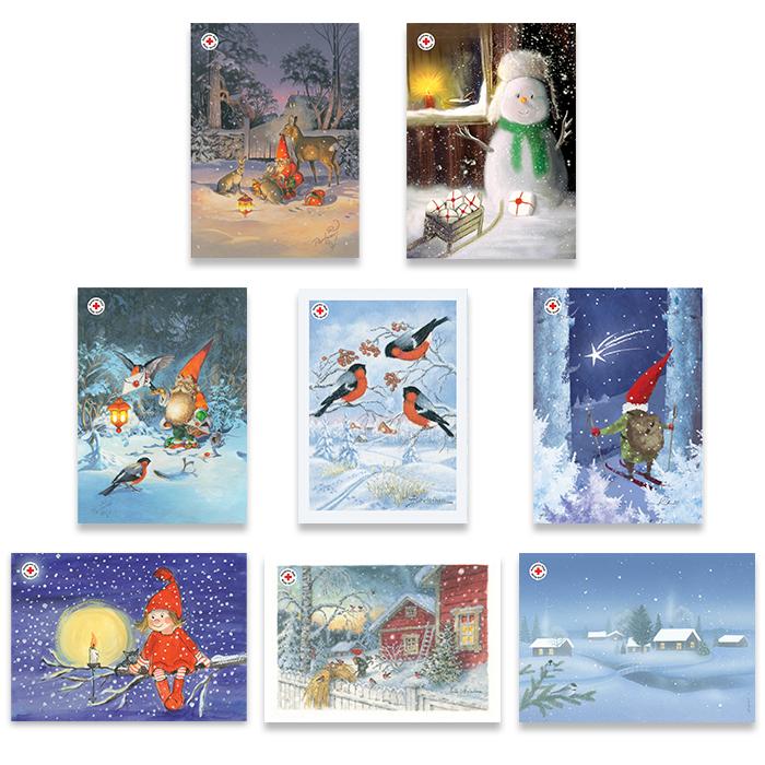 Joulupostikorttipakkaus, postimaksu maksettu