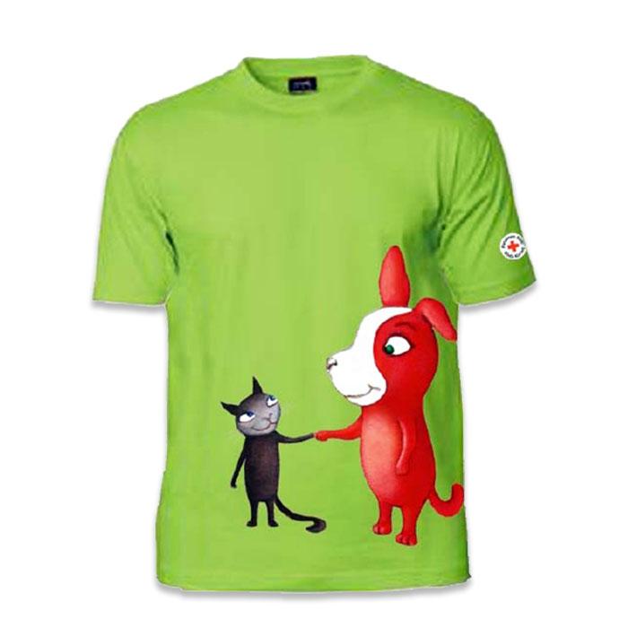 Reddie-koira ja Crossie-kissa kuvittavat lasten t-paitaa