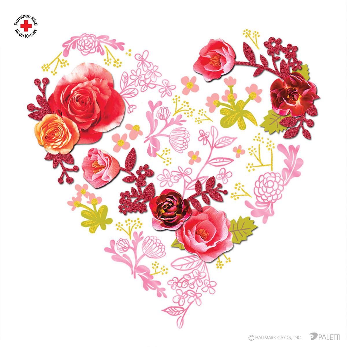 Ruusuinen sydän, 1 €/kpl