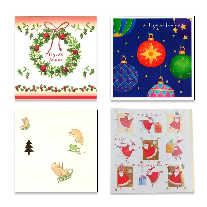 Pakkaus neliötaitekortteja sisätekstillä Hyvää Joulua