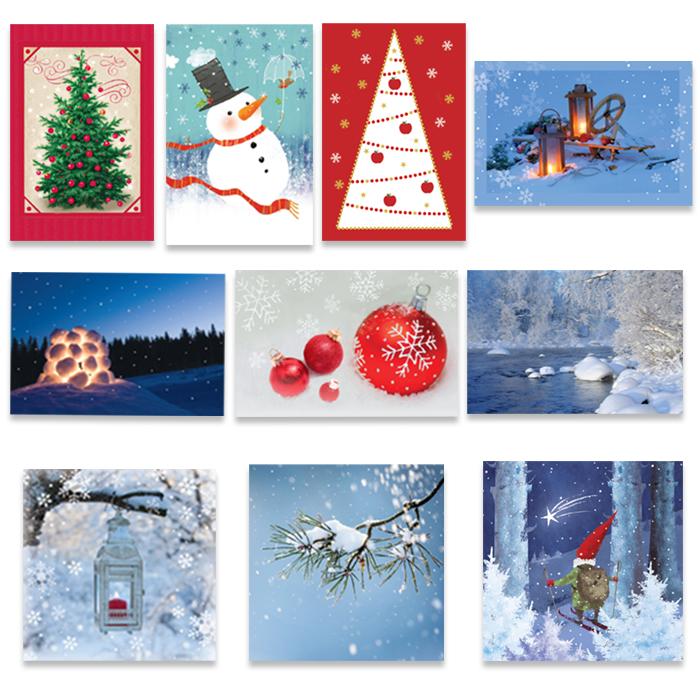 Joulutaitekorttipakkaus postimaksu maksettu