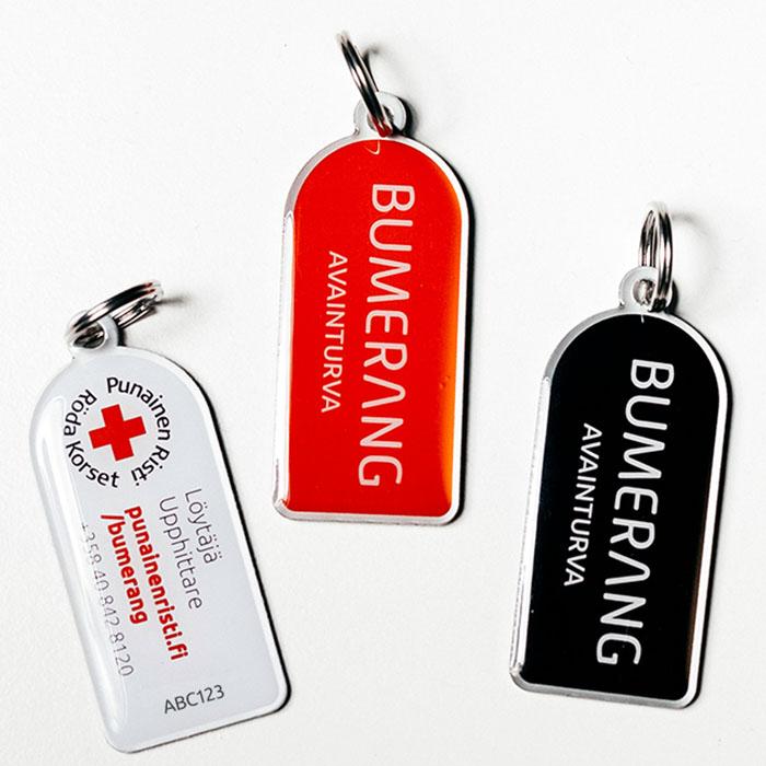 Bumerang säkerhetsbrickan, röd