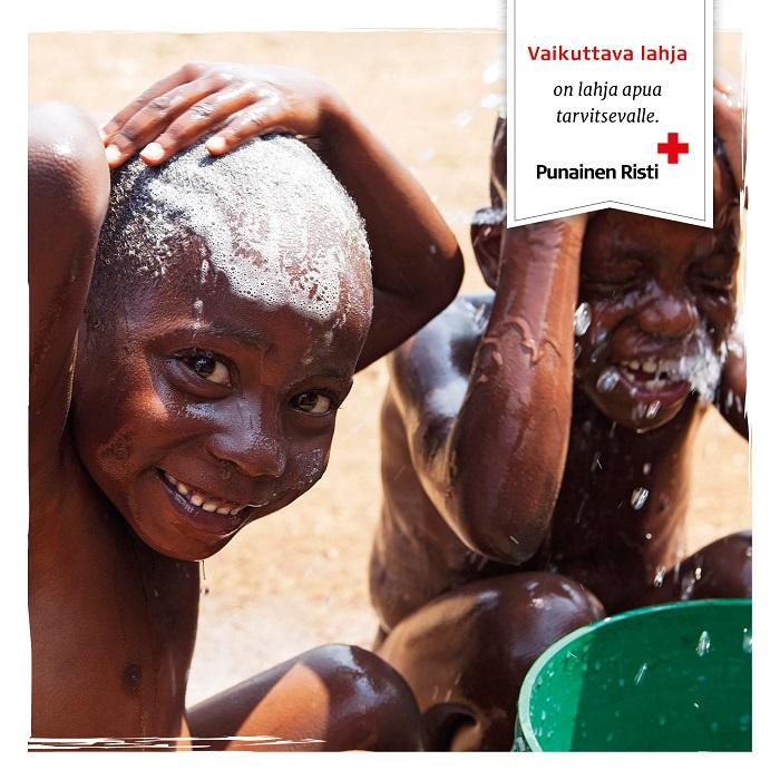 Hygienpaket för en flyktingfamilj, tryckt kort
