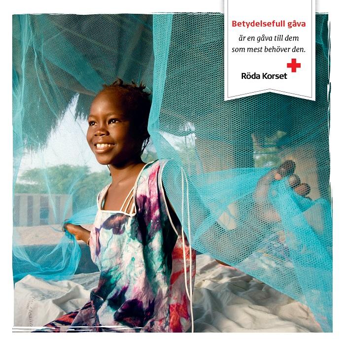 Malariaskydd till en familj, tryckt kort