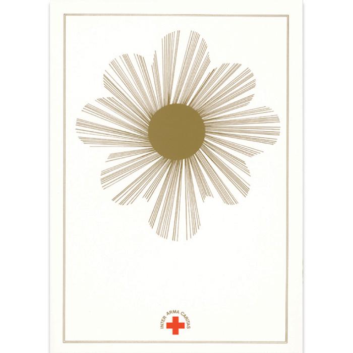 Kannessa kullanvärinen kuvio, punainen risti ja teksti Inter Arma Caritas