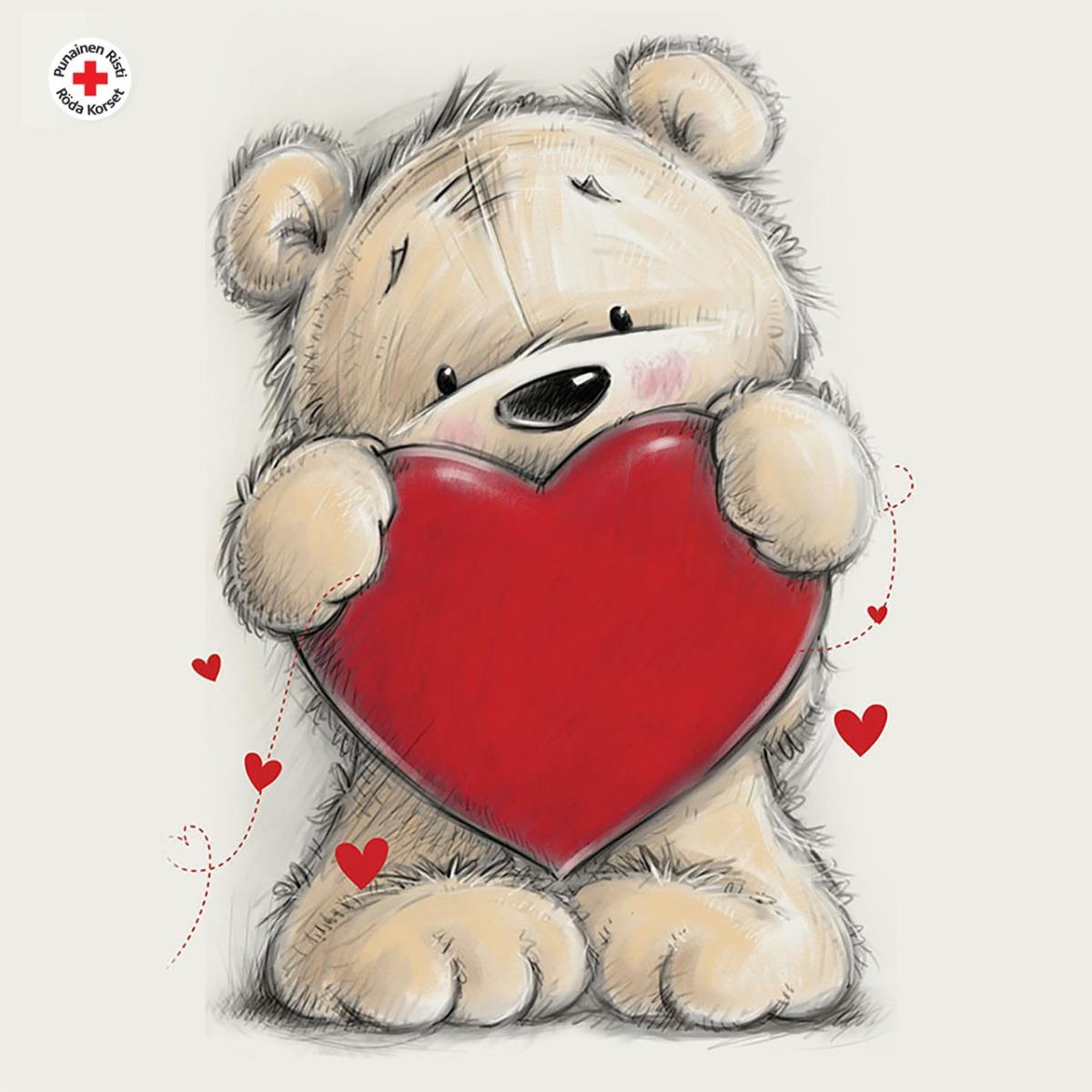 Nallebjörn och hjärta, 1 €/st