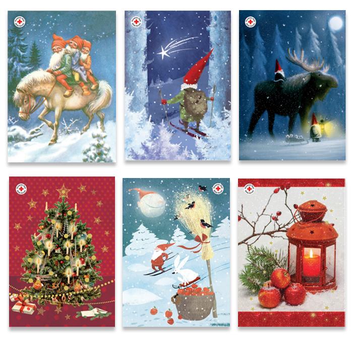 Julpostkortförpacking utan porto betalt, finska