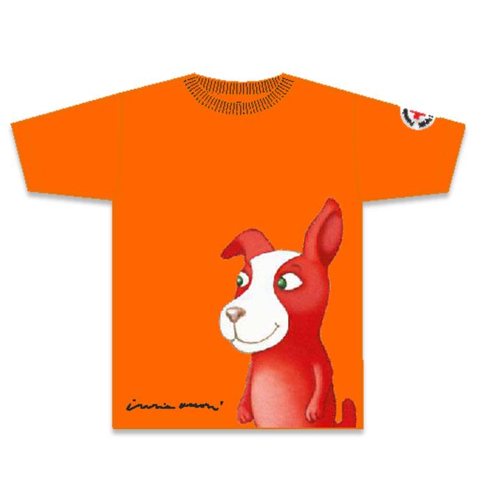 Reddie-koira seikkailee iloisen oranssissa lasten t-paidassa