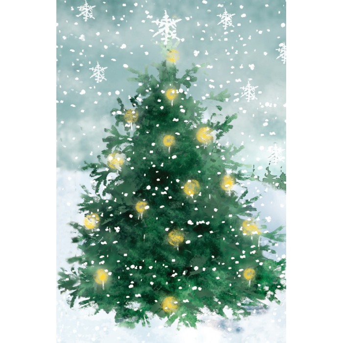 Förpackning A av vikta julkort, affärstext på finska