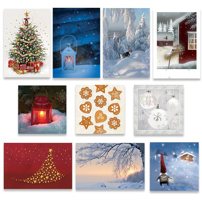 Julkortförpackning med inre text på finska