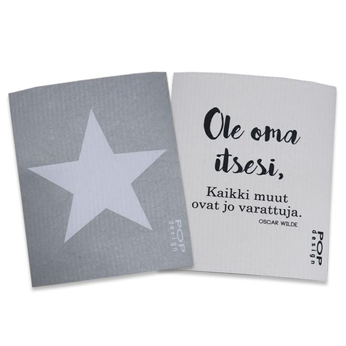 Förpackning med disktrasor,  stjärna & aforism